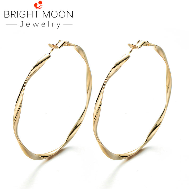 Bright Moon Trendy Large Hoop Earrings for Women Gold Color Earing Stainless Steel Circle Female Jewelry