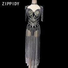 Braguitas de diamantes de imitación de plata brillantes sin mangas mono de lujo piedras largas borla leotardo cumpleaños de mujer DJ baile ropa de noche