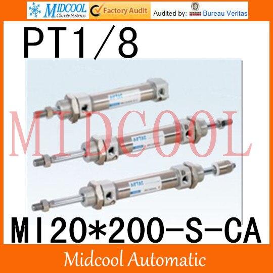 MI série ISO6432 Mini cylindre en acier inoxydable MI20 * 200-S-CA alésage 20mm port PT1/8
