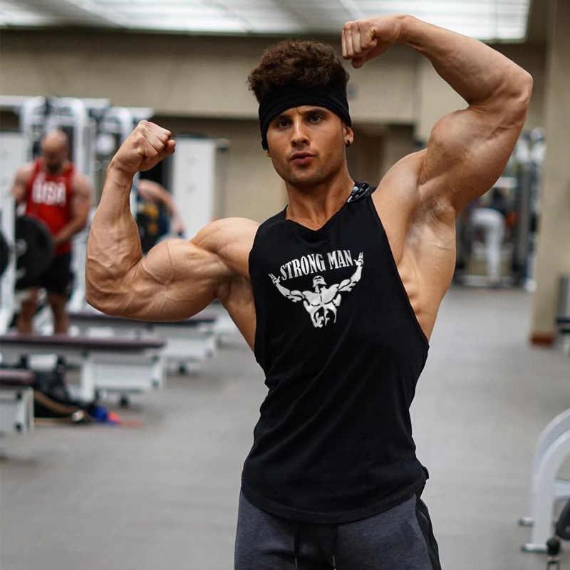 Otot Baru Katun Kaos Tanpa Lengan Tank Top Kebugaran Kemeja Pria Singlet Binaraga Latihan Gym Rompi Kebugaran Pria