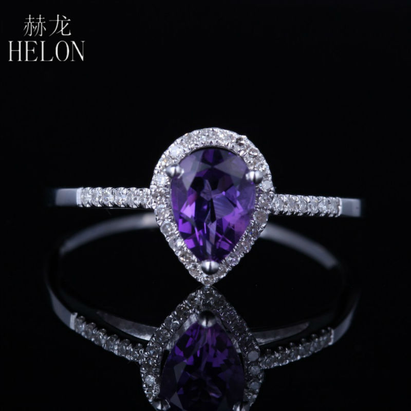 HELON 925 Sterling Silver 7X5MM Pear Genuine Natural Amethyst Ring Pave Fine Natural Diamonds Engagement Ring Womens JewelryHELON 925 Sterling Silver 7X5MM Pear Genuine Natural Amethyst Ring Pave Fine Natural Diamonds Engagement Ring Womens Jewelry