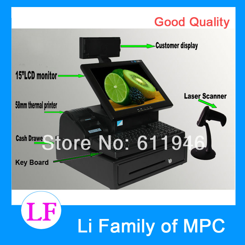 15inch touch screen all in one pos system with thermal printer/laser scanner/cash drawer/customer display/keyboard 15 inch android all in one pos system dual screen touch cash register and 80mm thermal printer and 410mm pos cash drawer