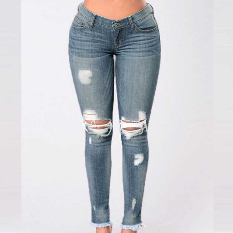 2018 Long casual Jeans Women Classic High Waist Skinny Pencil Denim Pants knee ripped hole Elastic Stretch stretchable Jeans