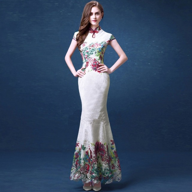 e33c585410f Белое кружево рыбий хвост Cheongsam вечерние платья Длинные китайский стиль  Русалка Cheongsam платья классическая Вышивка платья