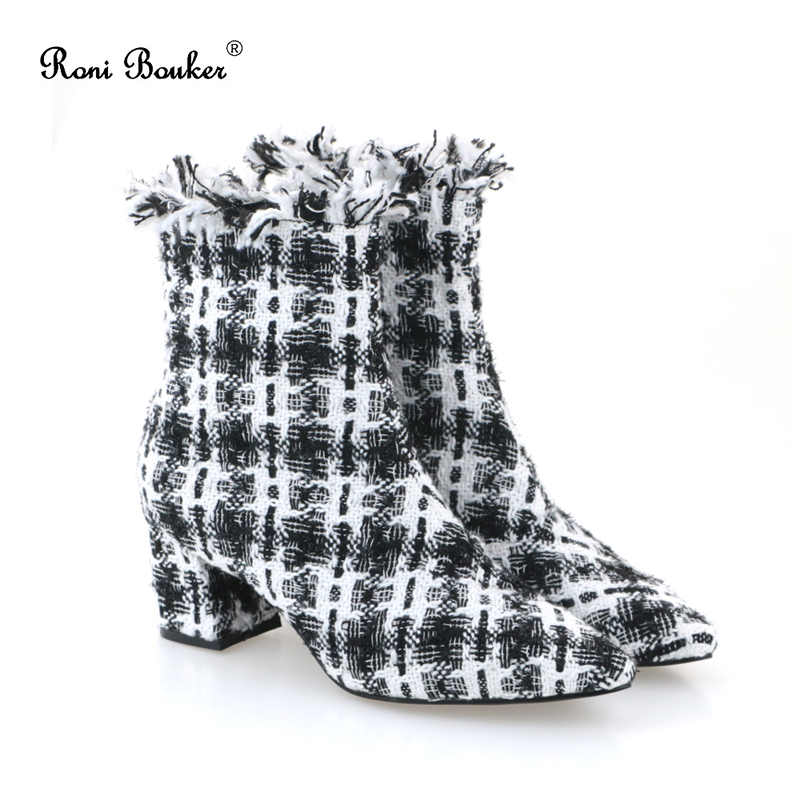 2018 Large Size Women Boots Fashion Plaid Pointed Toe High Heels Elegant Womens Shoes Sexy Autumn Winter Ankle Boots Female2018 Large Size Women Boots Fashion Plaid Pointed Toe High Heels Elegant Womens Shoes Sexy Autumn Winter Ankle Boots Female