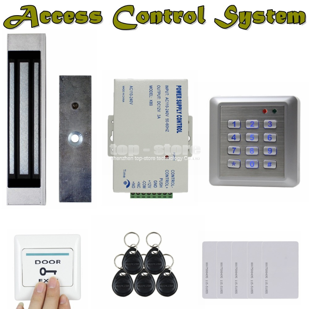DIYSECUR 125KHz RFID Reader Password Keypad Door Access Control Security System 180KG Magnetic Lock Door Lock Kit W4 diysecur touch panel rfid reader password keypad door access control security system kit 180kg 350lb magnetic lock 8000 users
