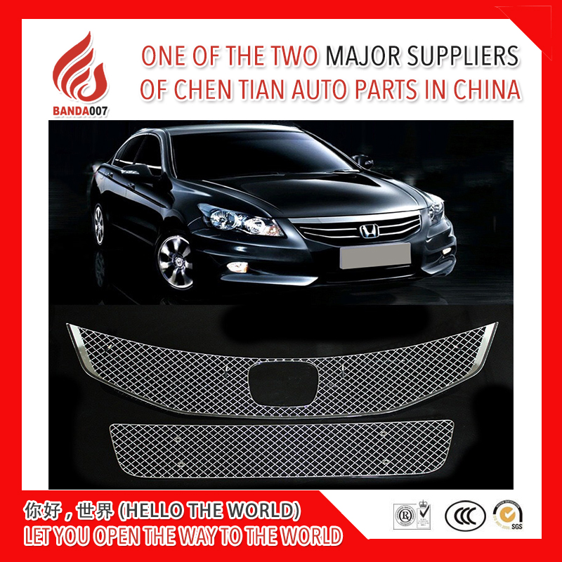 High quality 304 Stainless fit well modification car front grille racing <font><b>grills</b></font> <font><b>grill</b></font> cover trim for <font><b>accord</b></font> <font><b>2008</b></font> 2011 image
