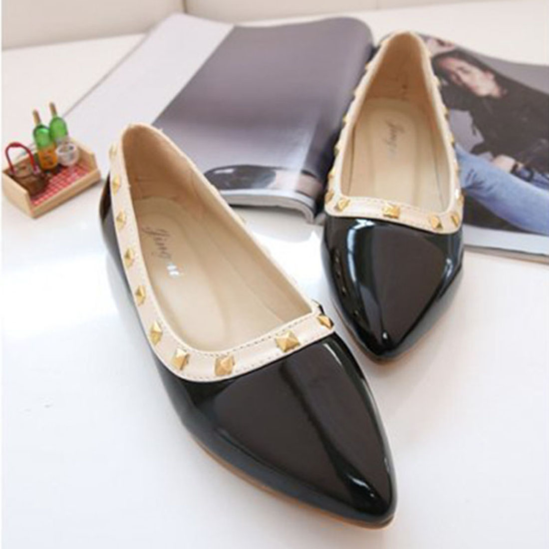 NEW Fashion 2016 Flats Shoes Women Ballet Princess Shoes For Casual Boat Shoes Rivets Decoration Brand Women Flats beyarne rivets decoration brand shoes flats women spring autumn fashion womens flats boat shoes sexy ladies plus size 11