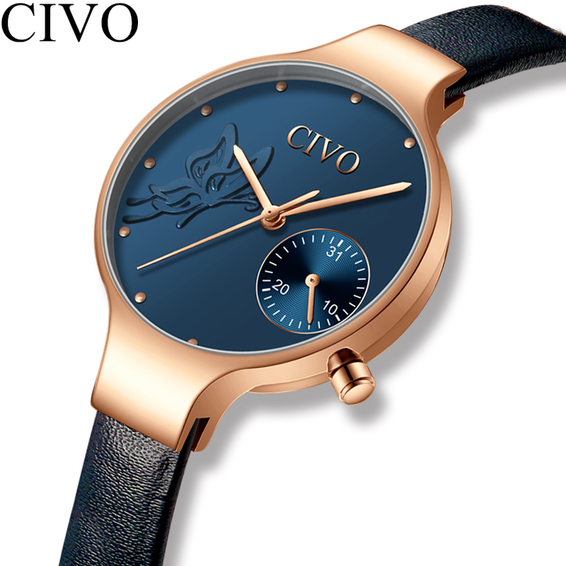 Civo moda casual mulheres relógios topo de luxo marca senhoras pulseira de couro à prova dwaterproof água relógios quartzo senhora relógio relogio feminino