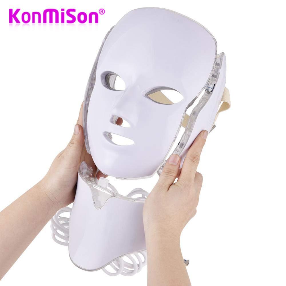 KONMISON LED Facial Mask 3/7 Color LED Photon Facial Mask Wrinkle Acne Removal Face Skin Rejuvenation Facial Massage Beauty Mask