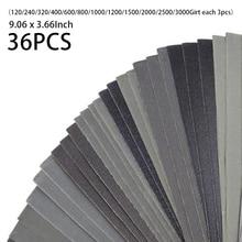 36 stücke Nass Trocken Schleifpapier Blatt Sortiment Schleifkorn Papier Automotive Metall Silicon Hartmetall Auto Zubehör