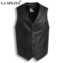 LA SPEZIA Genuine Sheepskin Leather Vest For Men Black Slim Fit Sleeveless Jacket Male Vintage Natural Retro Waistcoat