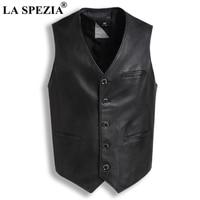 LA SPEZIA Genuine Sheepskin Leather Vest For Men Black Slim Fit Sleeveless Jacket Male Vintage Natural Leather Retro Waistcoat