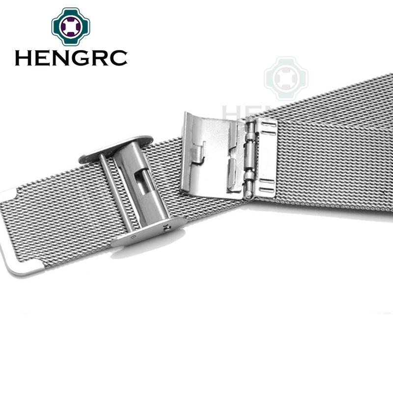 Milanese Loop Watchbands 16mm 18mm 20mm 22mm 24mm Stainless Steel Woven Watch Band Strap Metal Bracelet Double Clasp Accessories in Watchbands from Watches