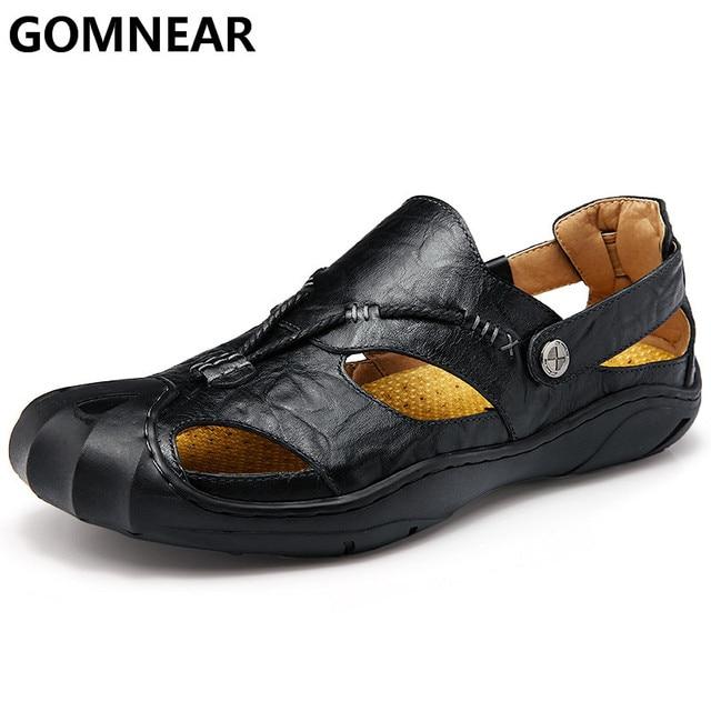 Gomnear Лето 2017 г. новый открытый Пляжные сандалии для мужчин Пояса из натуральной кожи Для мужчин удобные Сандалии для девочек мужские Нескользящие мягкие резиновые Сандалии для девочек