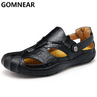 GOMNEAR New Summer Sandal For Male Outdoor Beach Genuine Leather Sandals Man Comfortable Non slip Soft Rubber Sandals Shoes
