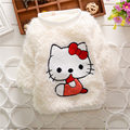 2015 winter Brand Baby Girl Sweater PINK&WHITE long Sleeve KT cat cute Knitted Wear Wool Bebe Children Top Clothes