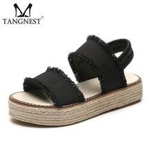 Tangnest Clásico Sandalias de Gladiador Para Las Mujeres NUEVOS zapatos de Lona de Verano de Cáñamo Sandalias de Playa Casual Slip-on Zapatos de Los Planos de la Plataforma