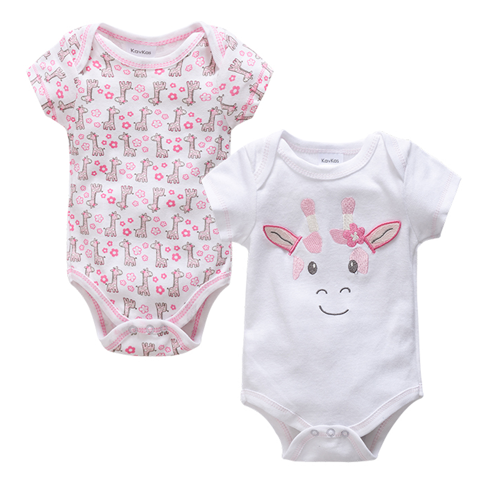 Kavkas Giraffe Baby Rompers Summer 2pcs/set Short Sleeve Cartoon Costume Newborn