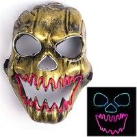 Złoty EL Drutu Duch Maski LED Light Up Neonowy Maska na Boże Narodzenie Carnaval Party Klub Bar DJ Świecące Całą Twarz maski
