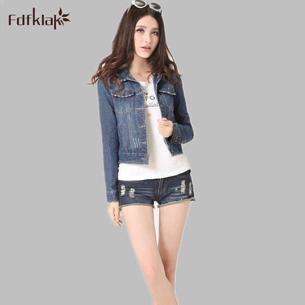 Más el tamaño s-4xl otoño primavera de manga larga chaqueta de las mujeres 2017 pantalones vaqueros de mezclilla de moda femenina chaqueta de mezclilla de gran tamaño abrigo clothing q208