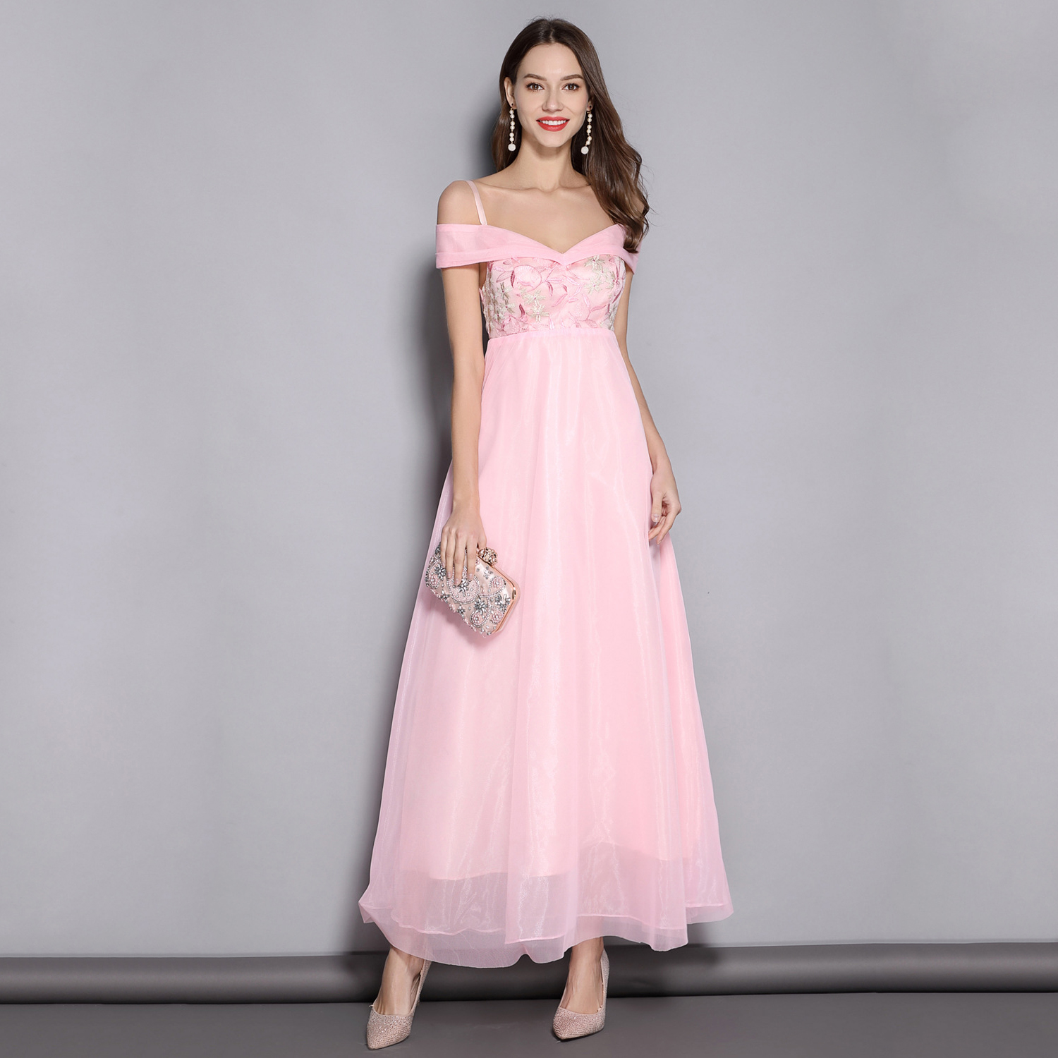 Pink Robe Demoiselle D'honneur Fille Elegant A Line   Bridesmaid     Dresses   Embroidery Lace Long Prom Gown Wedding Formal   Dress