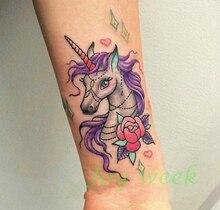 Waterproof Temporary Tattoo Sticker unicorn horse mermaid dream catcher fox tatto stickers flash tatoo fake tattoos for women 27
