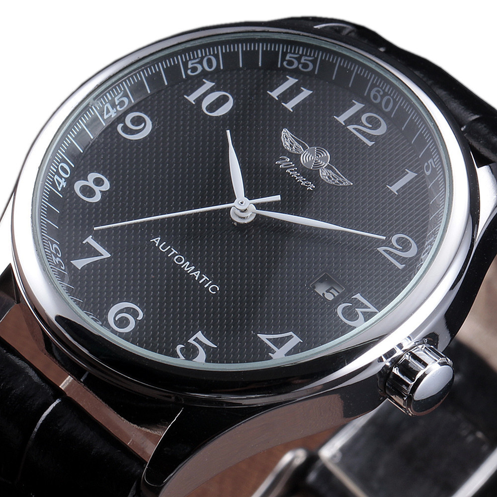 Winner Luxury Men Mechanical Watch Classic Date Automatic Mechanical Watch Self Winding Skeleton Black Leather Strap