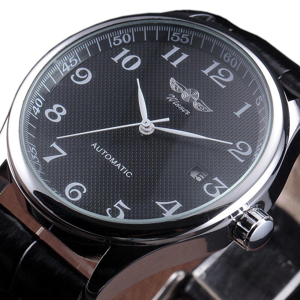 Gewinner Luxus Männer Klassische Datum automatische Mechanische Uhr Wicklung Skeleton Schwarz Leder/Edelstahl-bügel-armbanduhr