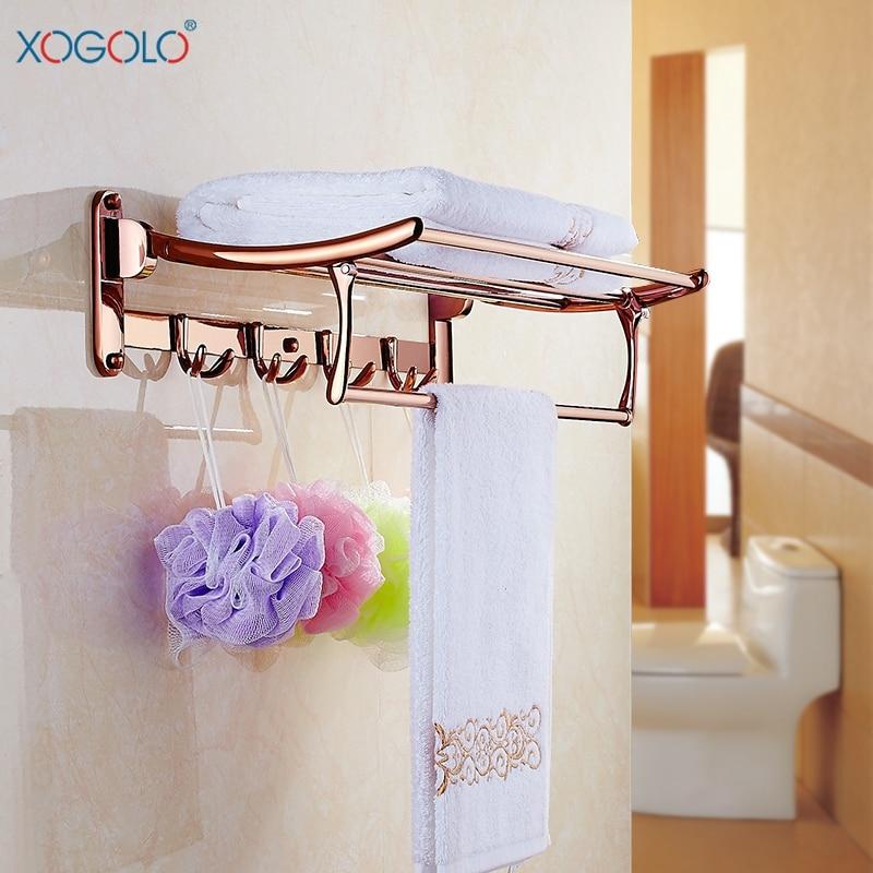 Xogolo Copper Plated Rose Gold Wall Mounted Fashion Bath Hardware Sets Papaer Towel Holder Rack Bathroom Shelf Accessories