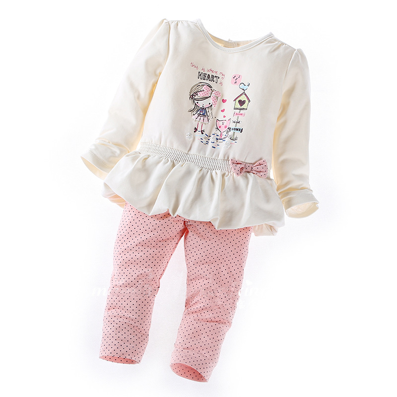 2017 New Style Fall Newborn Girl Cotton Set Children Baby Clothing Cartoon Tops + Pants 2 pcs Sets Infant Toddler Girls Clothes new next fall girls graffiti sets european and american style printing zipper cardigan cartoon princess hot sale children s sets