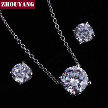 ZHOUYANG ZYS289 Four Jaw Set Zircon Silver Color Jewelry Necklace Earring Set Rhinestone Made with Austrian Crystals