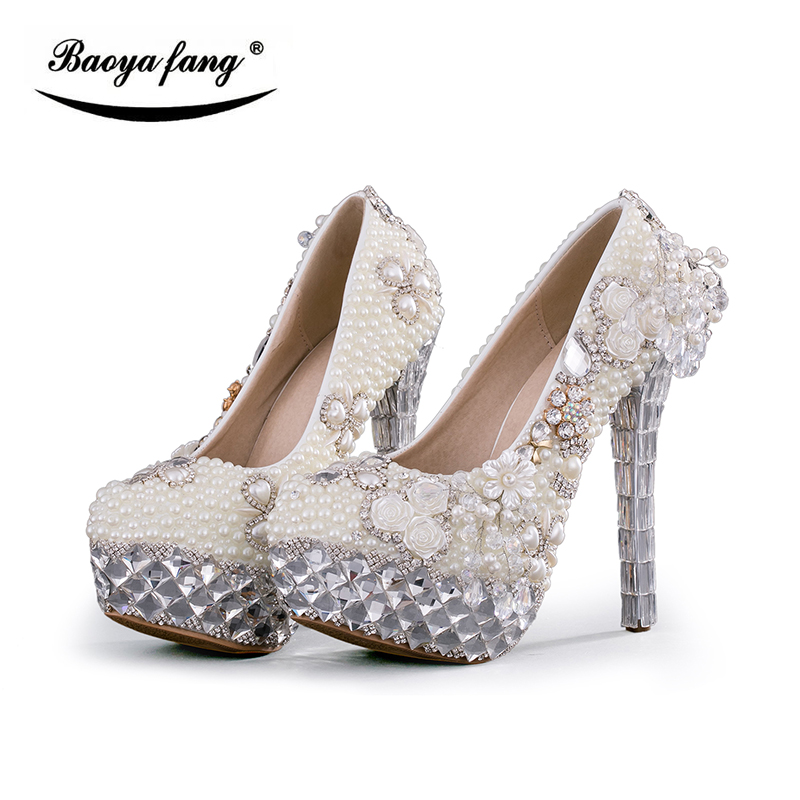 BaoYaFang Beige beads ivory Pearl womens wedding shoes Bride platform shoes high shoes ladies big size Pumps woman shoes baoyafang red crystal womens wedding shoes with matching bags bride high heels platform shoes and purse sets woman high shoes