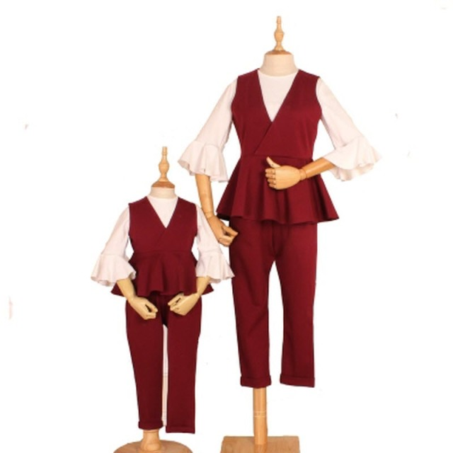 one price for 3 pieces children clothes women kids girls family matching clothing outfits mother daughter vest & Pants & shirt