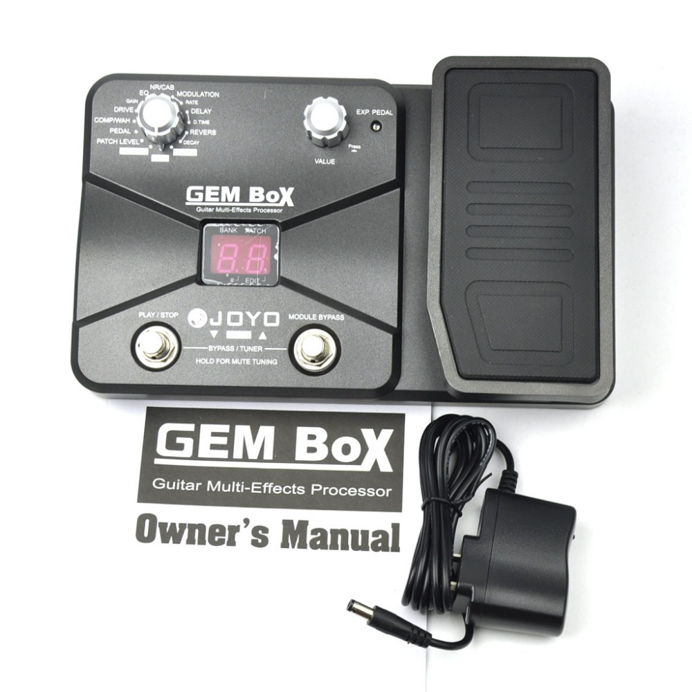JOYO GEM Box Guitar Multi-Effects Processor Pedal With Power Adapter nux mg 20 electric guitar multi effects pedal guitarra modeling processor with drum machine eu plug