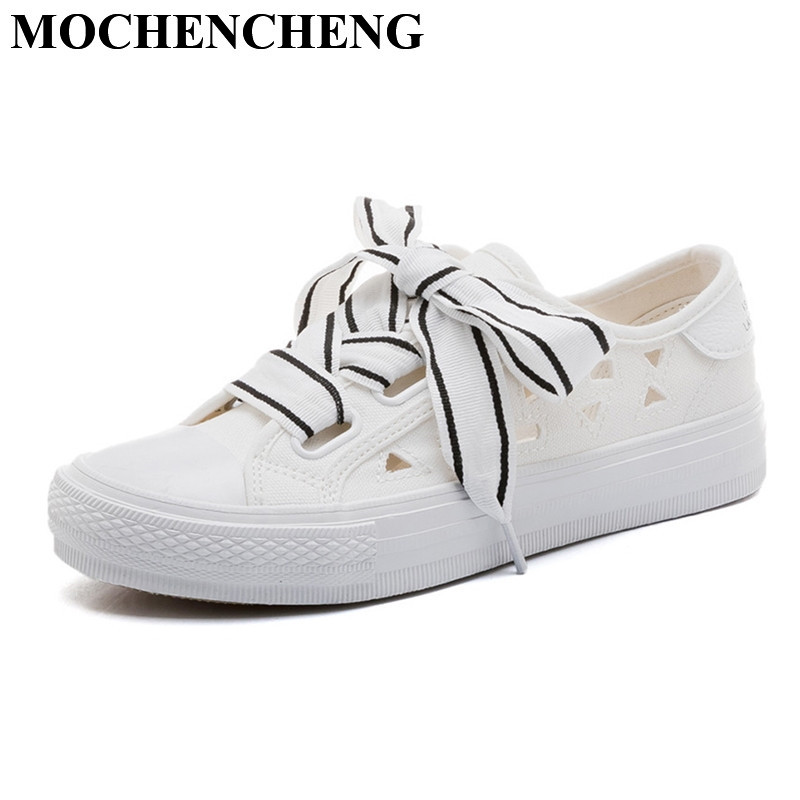 New Women Casual Shoes for Spring Summer Hollow Breathable Canvas Shoes Solid White Shoes for Women High Quality Leisure Shoes vikeduo brand 2017 fashion top real leather hollow breathable men shoes leisure casual lace shoes summer spring white footwear