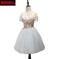 Stylish With Sleeves Homecoming Dresses 2019 Beaded Flowers Corset Short Prom Dress Junior High Graduation Dresses Cocktail Gown