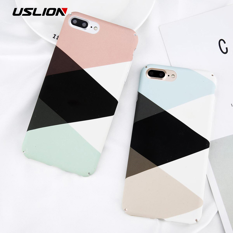 USLION Phone Cases For iPhone 7 Plus Geometric Stitching Marble Case Matte Hard PC Back Cover For iPhone 8 7 6 6S Plus Case