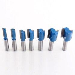 Detal 7PC 8mm frez Shank wysokiej jakości prosto/Dado zestaw bitów rozwiertaków 6 8  10 12  14 18  20mm średnica cięcie drewna narzędzie
