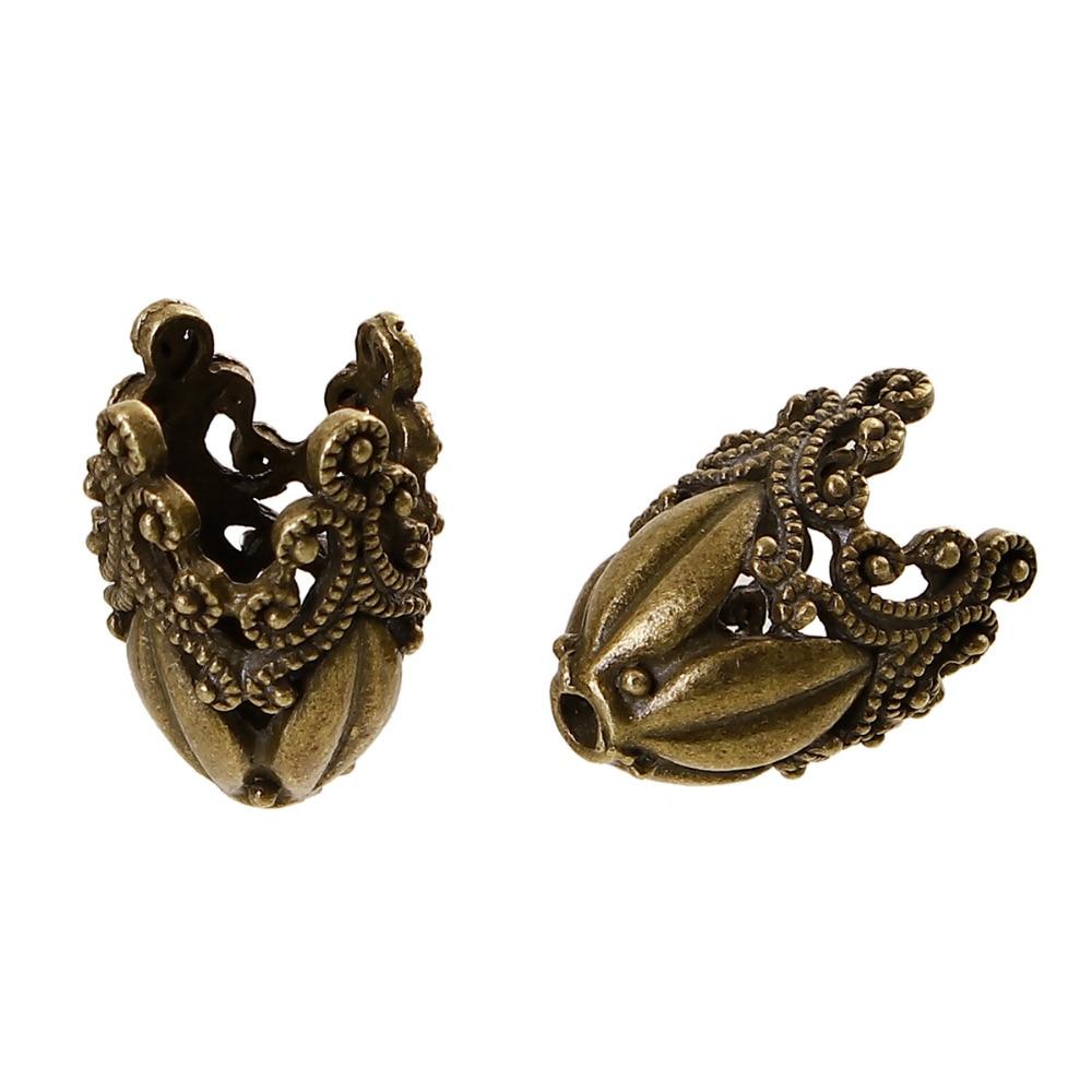 DoreenBeads Zinc Based Alloy Antique Bronze Filigree Beads Caps FlowerDIY Findings (Fit Beads Size: 14mm Dia.) 29mm X19mm,2Piece