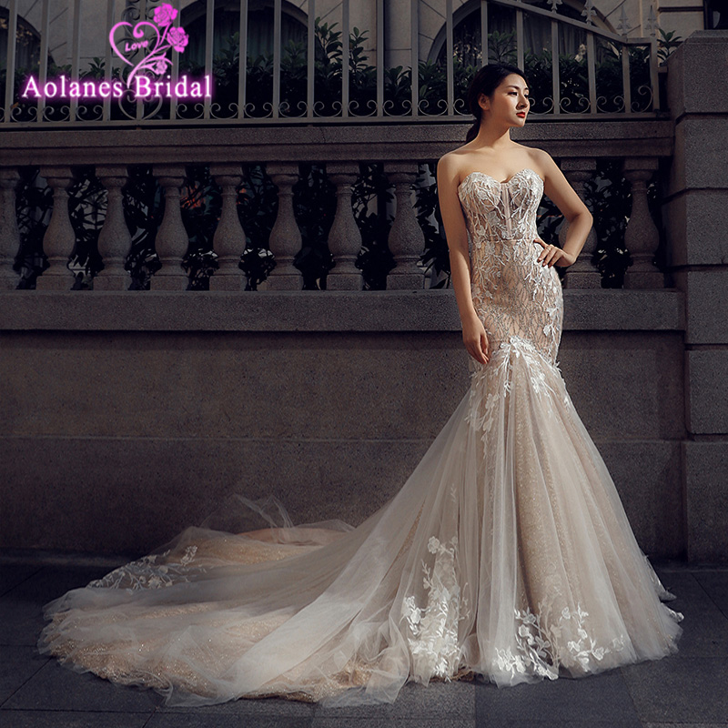 Fashionable Mermaid Wedding Dress 2018 Sweetheart Corset Lace Appliqued Bridal Gowns Vestidos De Novia