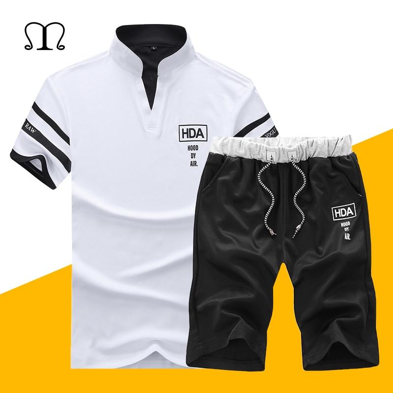 Conjunto de verano para hombre 2019 Casual 2 piezas ropa deportiva para hombre conjunto corto de dos piezas de moda Slim Track Suit camiseta para hombre + pantalones cortos de chándal conjuntos