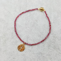 Natrual Stone Red Garnet Faceted Beads 925 sterling silver Gold Color Happiness Lucky Pendant Fashion Shining Bracelet