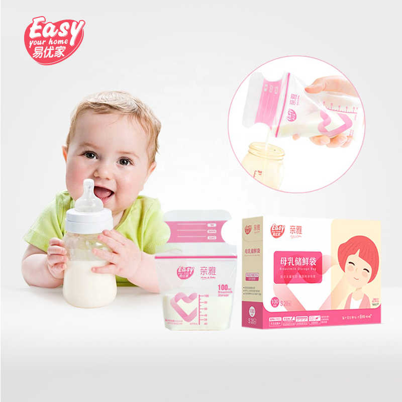 Plastic Zipper Food Grade BPA Free PE Storage Bags for Breast Milk