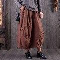 Vintage Harajuku Ethnic Hippie Boho Bohemian Jupe Longue Femme Saias Lolita Loose Retro Cotton Linen Women Winter Thick Skirt