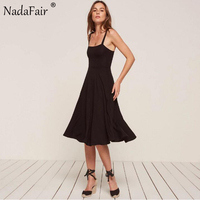 Nadafair Spaghetti Strap Backless Large Hem Pleated Black Casual Sexy Women Party Dresses Summer Long Dress