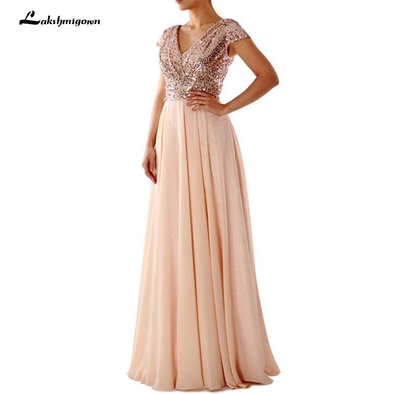 Champagne mousseline de soie robes de demoiselle d'honneur avec paillettes d'or haut col en v manches courtes formelle élégante robe robe demoiselle d'honneur