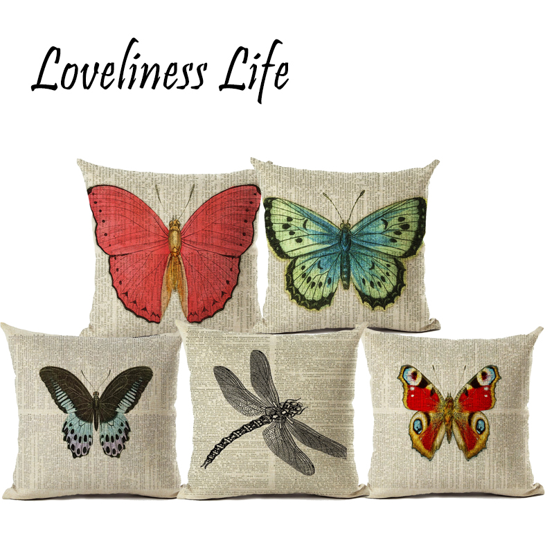 Throw Pillows For Couch Part - 37: Retro Village Letter Butterfly Paint Linen Pillow Cushion Cover Home Car Couch  Decorative Pillow Case 45x45cm
