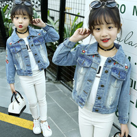 Denim Jackets For Girls 3 4 5 6 7 8 10 11 Years Jeans Jackets 2018 New Fashion Long Sleeve Embroidery Outwear Fall Kids Jackets