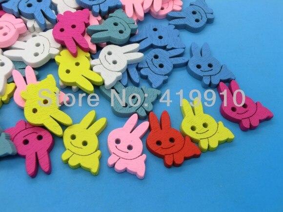 Free shipping -100PCs Randomly Mixed Lovely Rabbits 2 Holes Wood Painting Sewing Buttons Scrapbooking 20x16mm, J1332